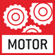 Motorised drive: the mechanical movement is carried out by a motorised drive.